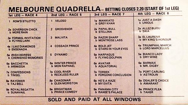Quadrella bracketing from 1982 VRC Derby Day